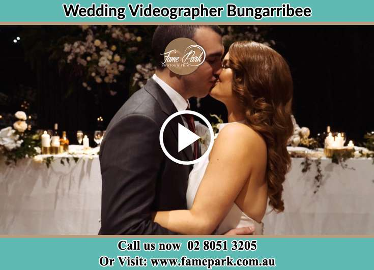 Bride and Groom kissed at the reception Bungarribee NSW 2767