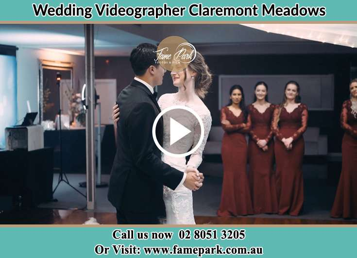 Bride and Groom look at each other at the dance floor Claremont Meadows NSW 2747