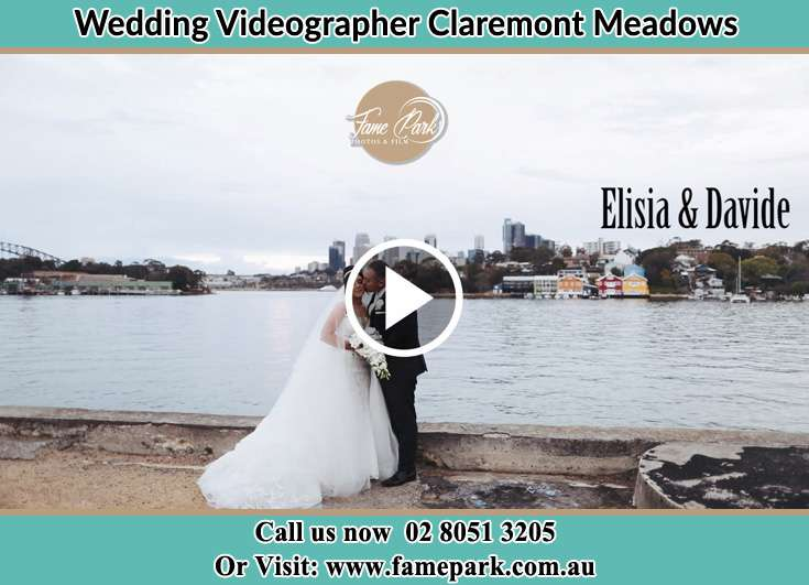 Bride and Groom kissed near the shore Claremont Meadows NSW 2747