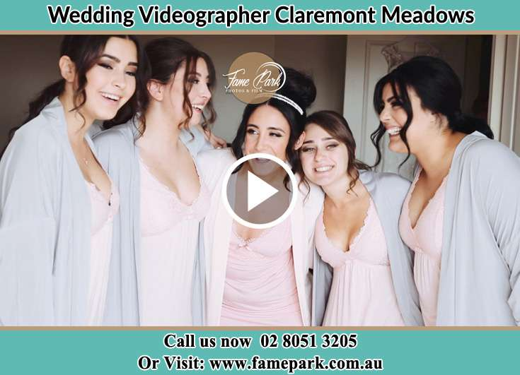 Bride and her secondary sponsors during pajama party Claremont Meadows NSW 2747