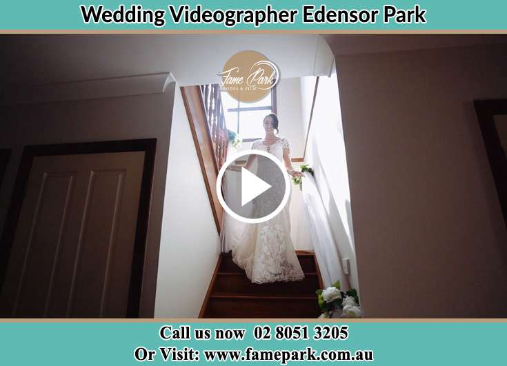 Bride walking down the stairs Edensor Park NSW 2176