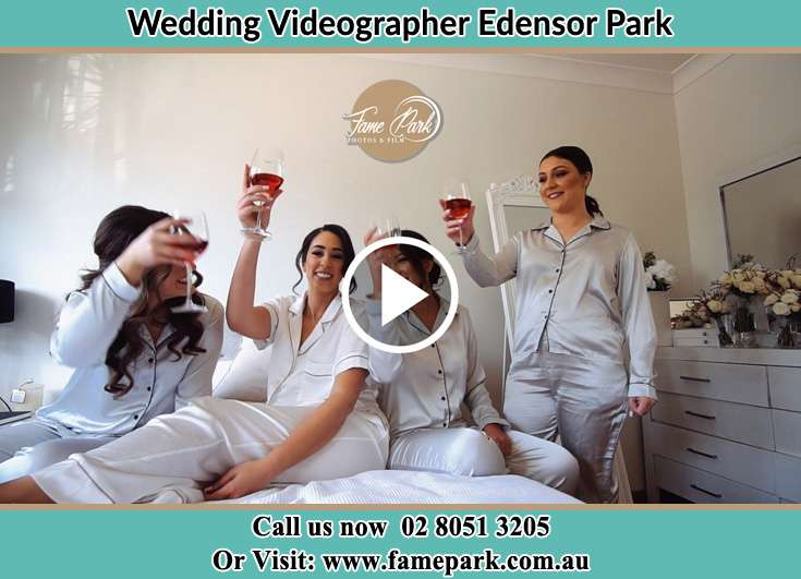 Bride and her secondary sponsors during pajama party Edensor Park NSW 2176