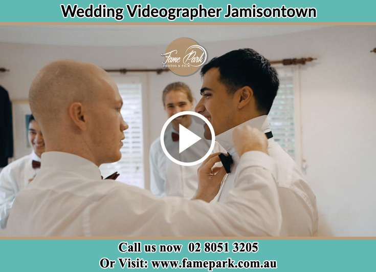 Groom getting ready with his secondary sponsors Jamisontown NSW 2750