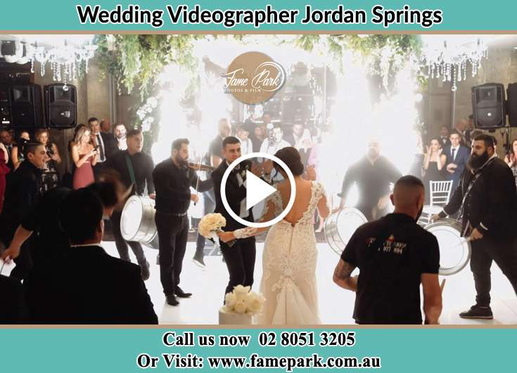 Bride and Groom at the dance floor sponsors Jordan Springs NSW 2747