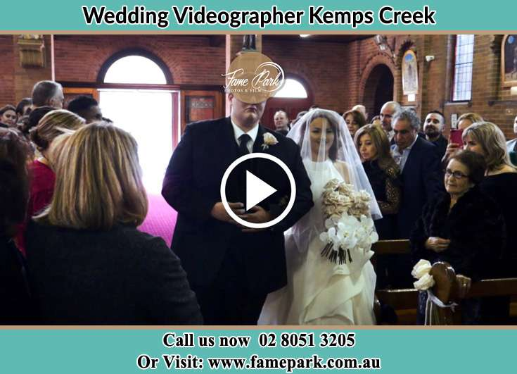Bride and Groom walking at the aisle Kemps Creek NSW 2178