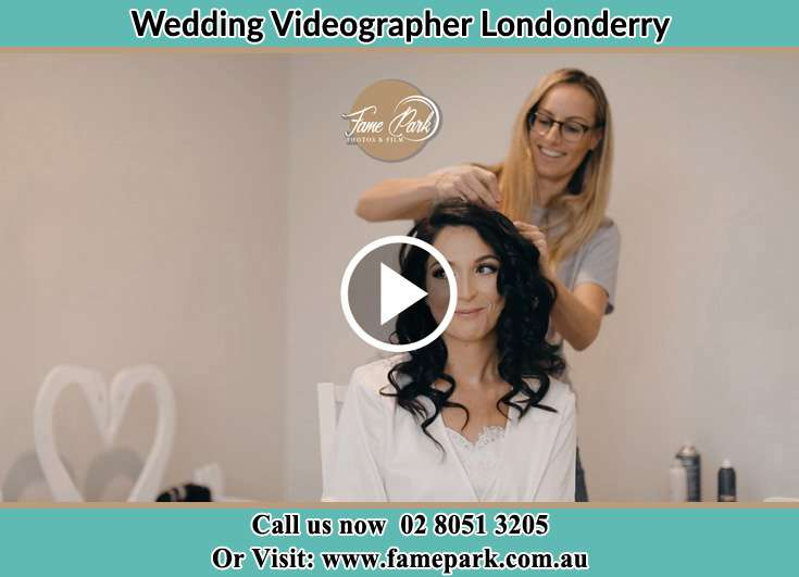 Bride getting her hair fixed Londonderry NSW 2753