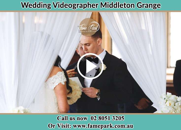 Bride and Groom during the ceremony Middleton Grange NSW 2171