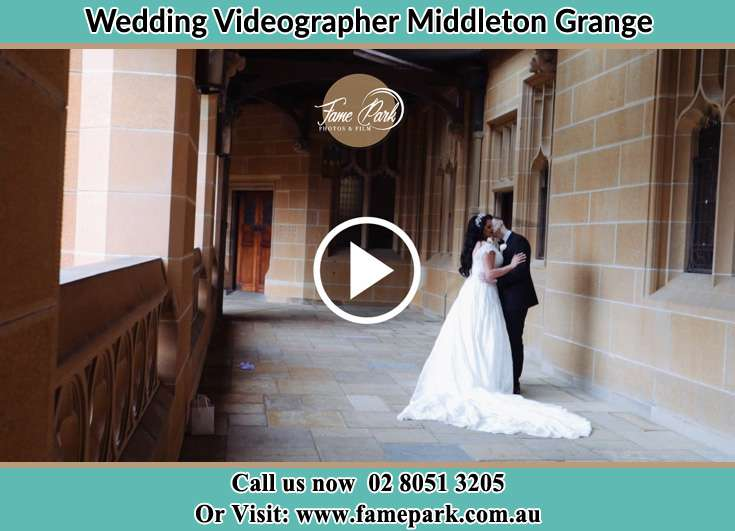 Bride and Groom kissed at the hallway Middleton Grange NSW 2171
