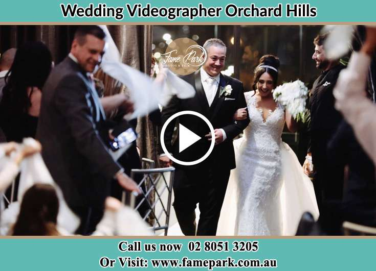 The newlyweds leaving the wedding venue Orchard Hills NSW 2748