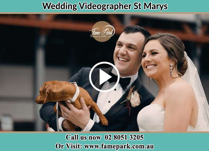 The Groom and the Bride with their dog posing for the camera St Marys NSW 2760