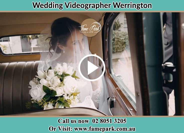The Bride waiting inside the bridal car Werrington NSW 2747